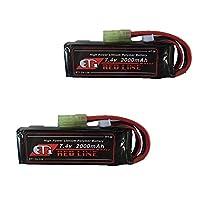 ET1 LiPo バッテリー R 7.4v 2000mAh レッドライン(ミニS) 2個セット