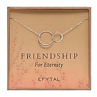 スターリングシルバー フレンドシップ フォー エタニティ 永遠の友情 ネックレス 2つのつながったインフィニティサークル 永遠の円 親友へのプレゼント