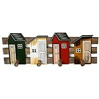 KTYX レトロレトロクリエイティブ壁掛けホームインテリア木製フック服フックフック漫画キッズルームかわいい コートハンガー (色 : Building a house)
