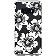 Kate Spade New York Phone Case | for Samsung Galaxy S10E | Protective Clear Crystal Hardshell Phone Cases with Slim Design and Drop Protection - Hollyhock Floral Clear/Cream with Stones