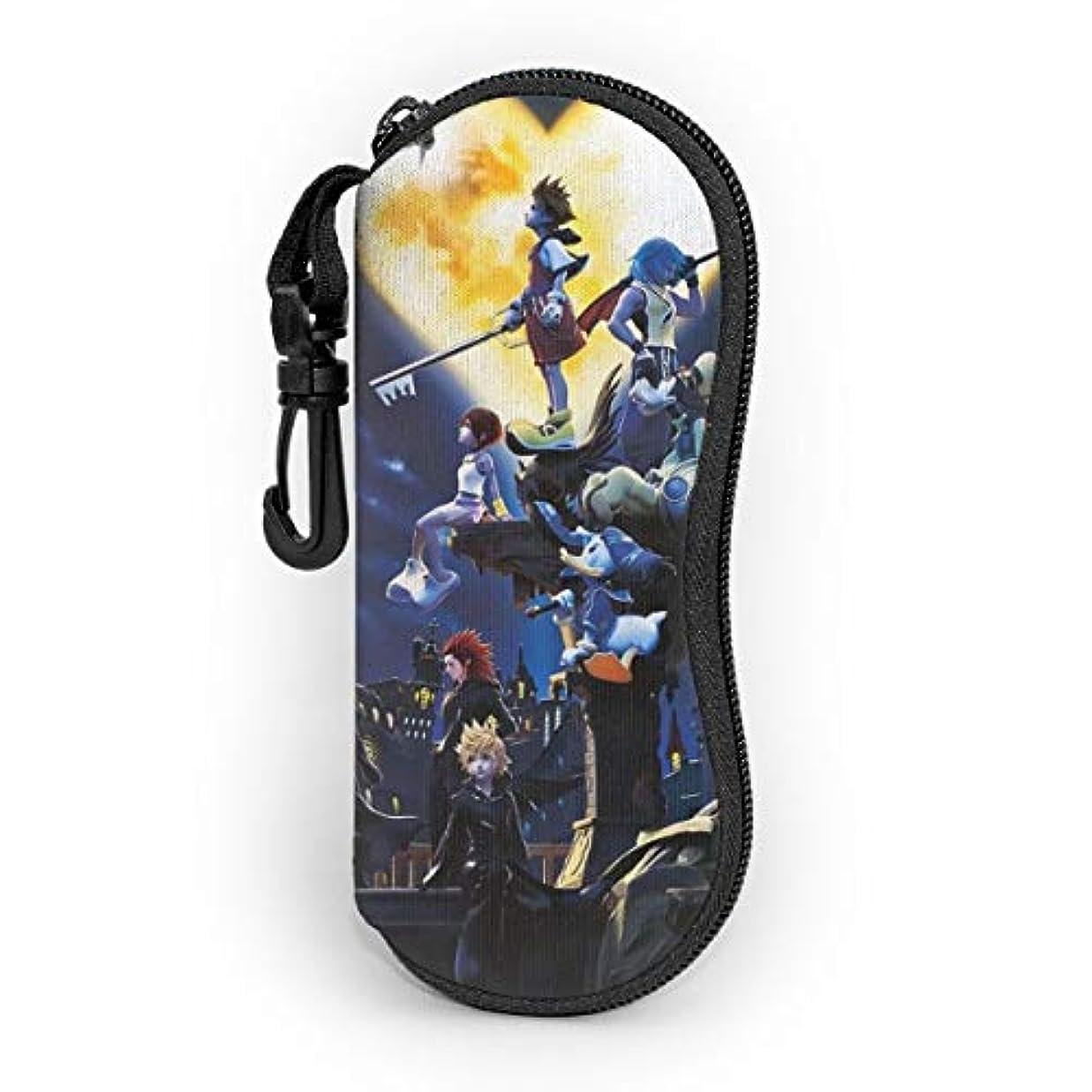 宇宙飛行士言い聞かせる摩擦キングダムハーツ Kingdom Hearts メガネバッグ 眼鏡ケース サングラスケース メガネ収納ケース サングラスボックス ジッパーメガネ サングラスバッグ メガネケース おしゃれ スリム 超軽量 ポータブル 多機能 キーチェーン付き