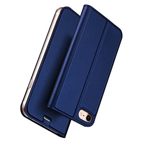 B&B iPhone7ケース 手帳型 耐衝撃 耐摩擦 高級PU レザー iPhone7 カバー 財布型 カード収納 マグネット スタンド機能 付き スマホケース アイフォンケース 耐汚れ 全面保護 フリップ 人気 おしゃれ 保護ケース (iPhone7, ブルー)