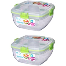 (2X Grun) - Sistema Salad to Go 1.1 Litre with Cutlery Partition and Dressing Container 2X Grun