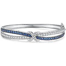 Caperci Love Knot Silver Bangle Bracelets for Women, 7.25''
