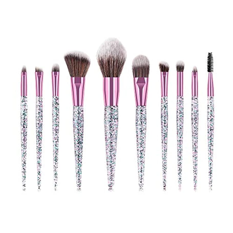 靄壮大透けて見えるMakeup brushes 艶をかけられた水晶ハンドルの化粧筆セットの眉毛のアイシャドウの基礎粉の構造のブラシの化粧道具10個 suits (Color : Diamond Crystal)
