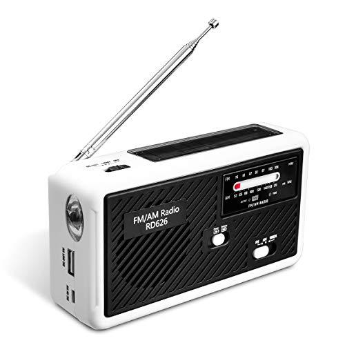 ポータブルラジオ 第二世代 Glisteny 防災 LED懐中電灯付き ポータブルラジオ 1000MaH大容量バッテリー防災ラジオ 警報機能 スマートフォンに充電可能 手回し充電/ソーラー充電対応/乾電池使用可能 (白)