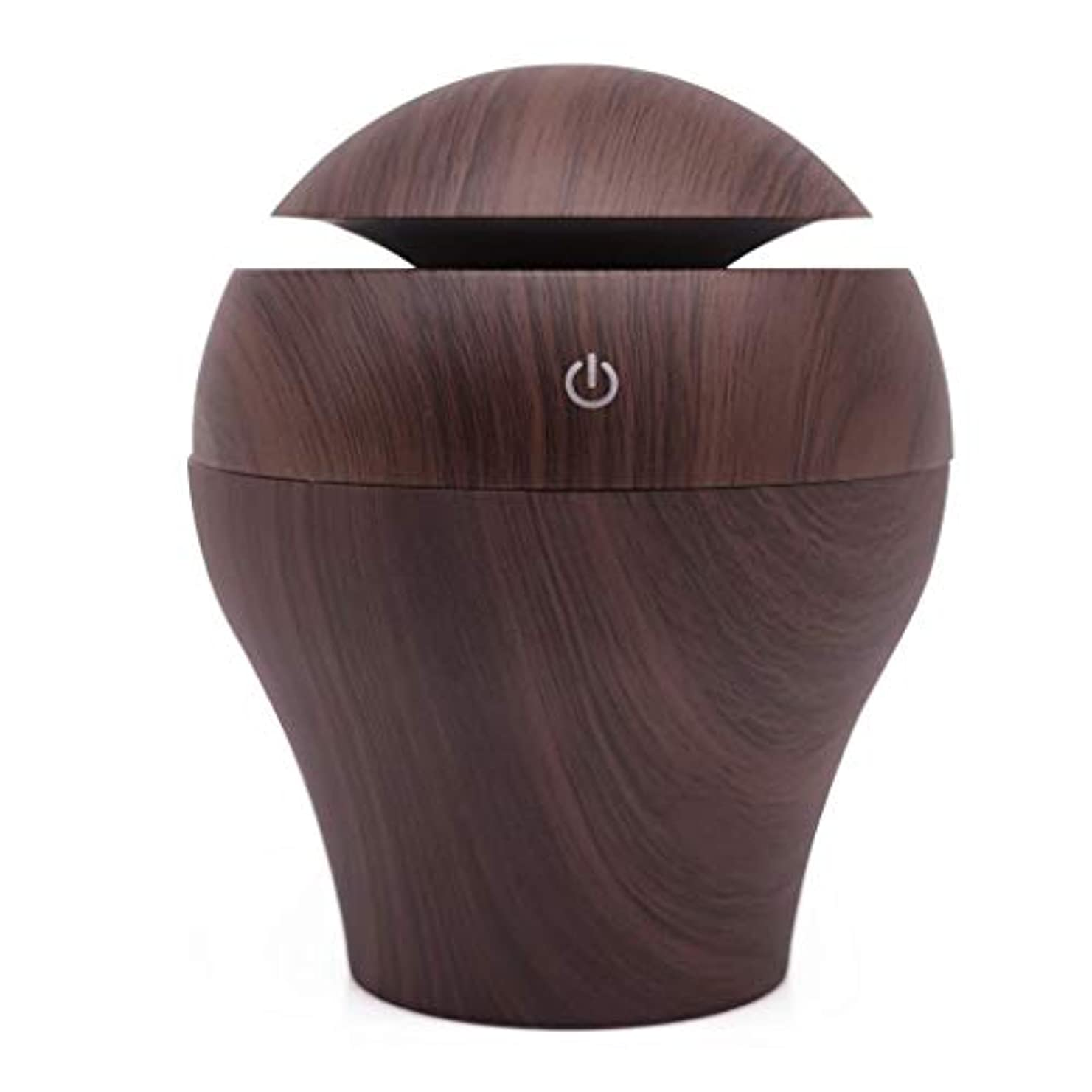 多様性重要性南アロマディフューザー250ミリリットルエッセンシャルオイルディフューザー電動超音波加湿器アロマ空気清浄機ウォーターレスオートオフ空気清浄機 (Color : Dark Wood Grain)