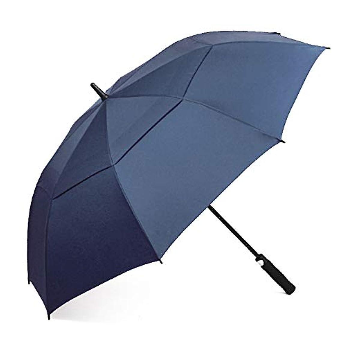 満足できる盆母二重層の超大きいまっすぐなハンドル自動傘、明確な雨の二重使用防風の自動開閉の折りたたみ,ブルー