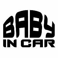 【BABY IN CAR Ver.140(赤ちゃんが乗ってます) 80s系 ICS カッティングステッカー 2枚組 幅約16cm×高約11.5cm】カラー:黒(ブラック)