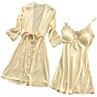 Ausexy Lingerie for Women's Kimono Set Silk Lace Kimono Robe & Dress Babydoll Nightgown Nightdress Sleepwear