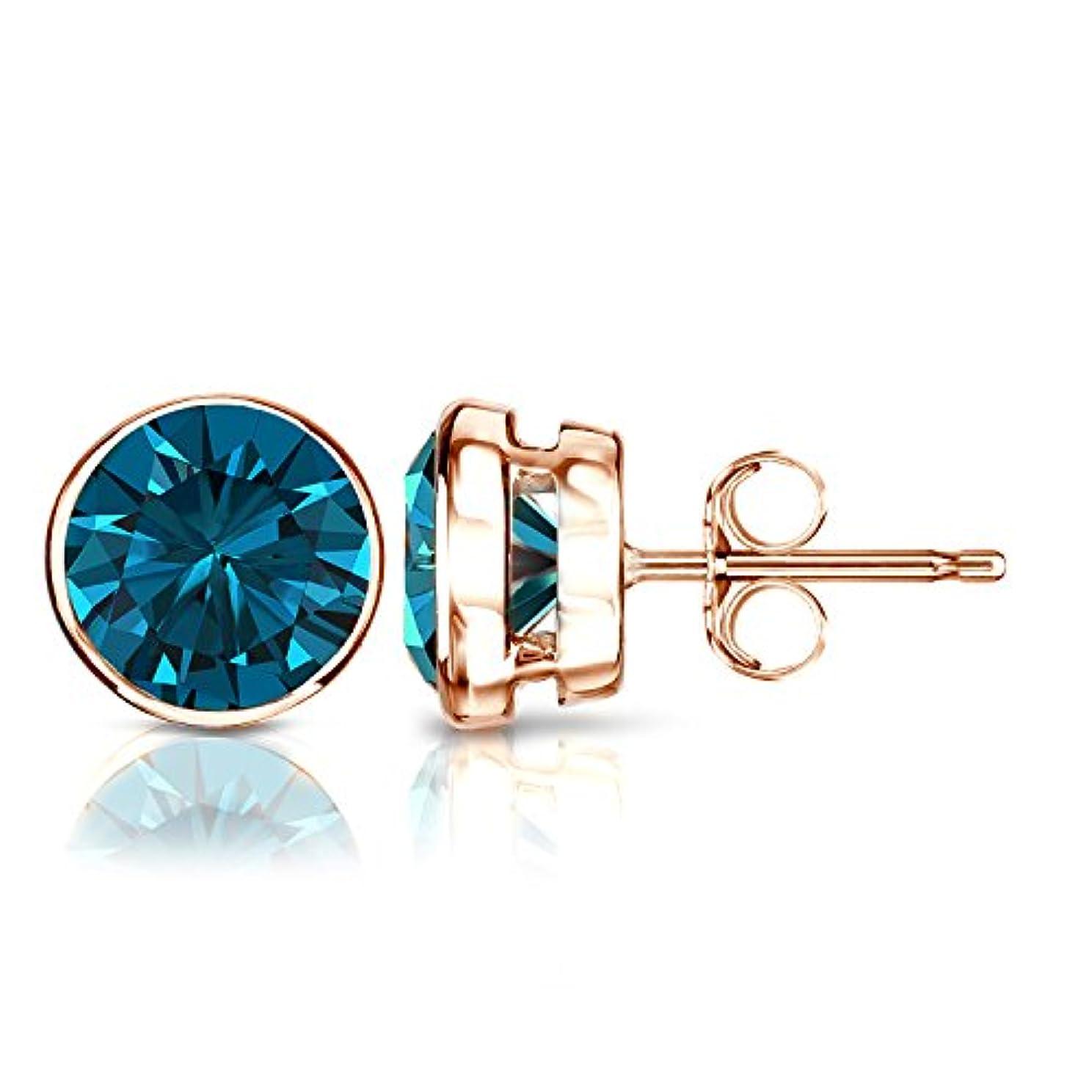 考案するあからさまのど14 Kゴールドラウンドブルーダイヤモンドメンズベゼルスタッドイヤリング( 1 / 4 – 2 ct、ブルー、i1 - i2 )プッシュバック