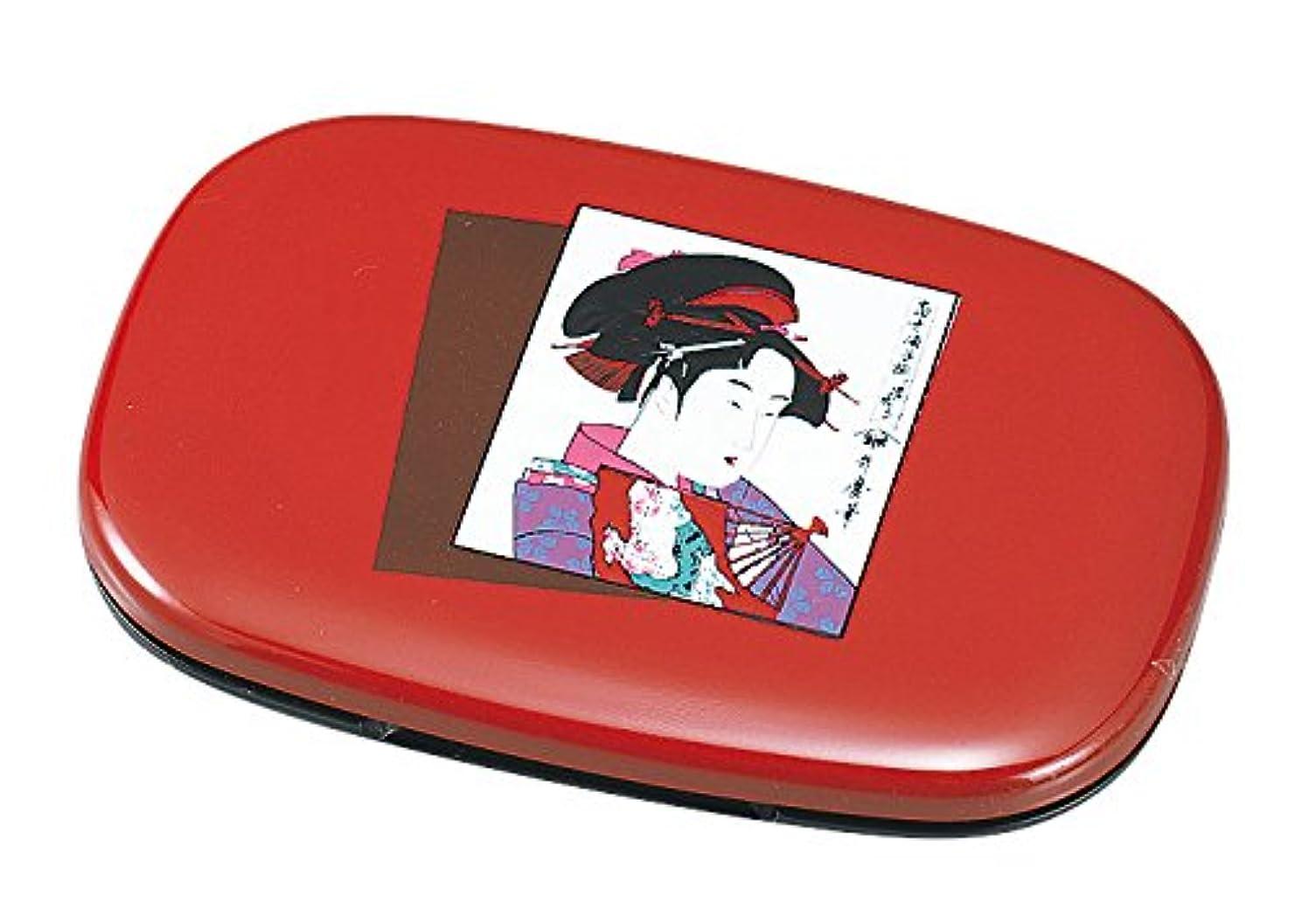 矢印構造的ピザ中谷兄弟商会 山中漆器 小判コンパクトミラー 朱黒 浮世絵