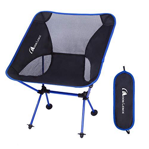 Moon Lence アウトドア チェア キャンプ 椅子 折りたたみ アルミ合金&オックスフォード コンパクト 超軽量 収納バッグ キャンプ アウトドア ハイキング 耐荷重150kg (ダークブルー)