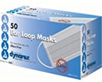 Dynarex 耳付きガラスフリーフィルター外科フェイスマスクは50 EAをループ(4パック) 4パック