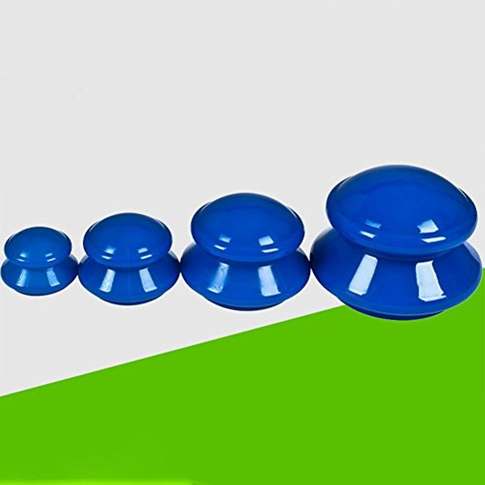 自我によるとライオンLiebeye カッピング マッサージ 負圧 シリコン カッピング カップセット フェイシャル ボディ カッピング 装置 4PCS ブルー