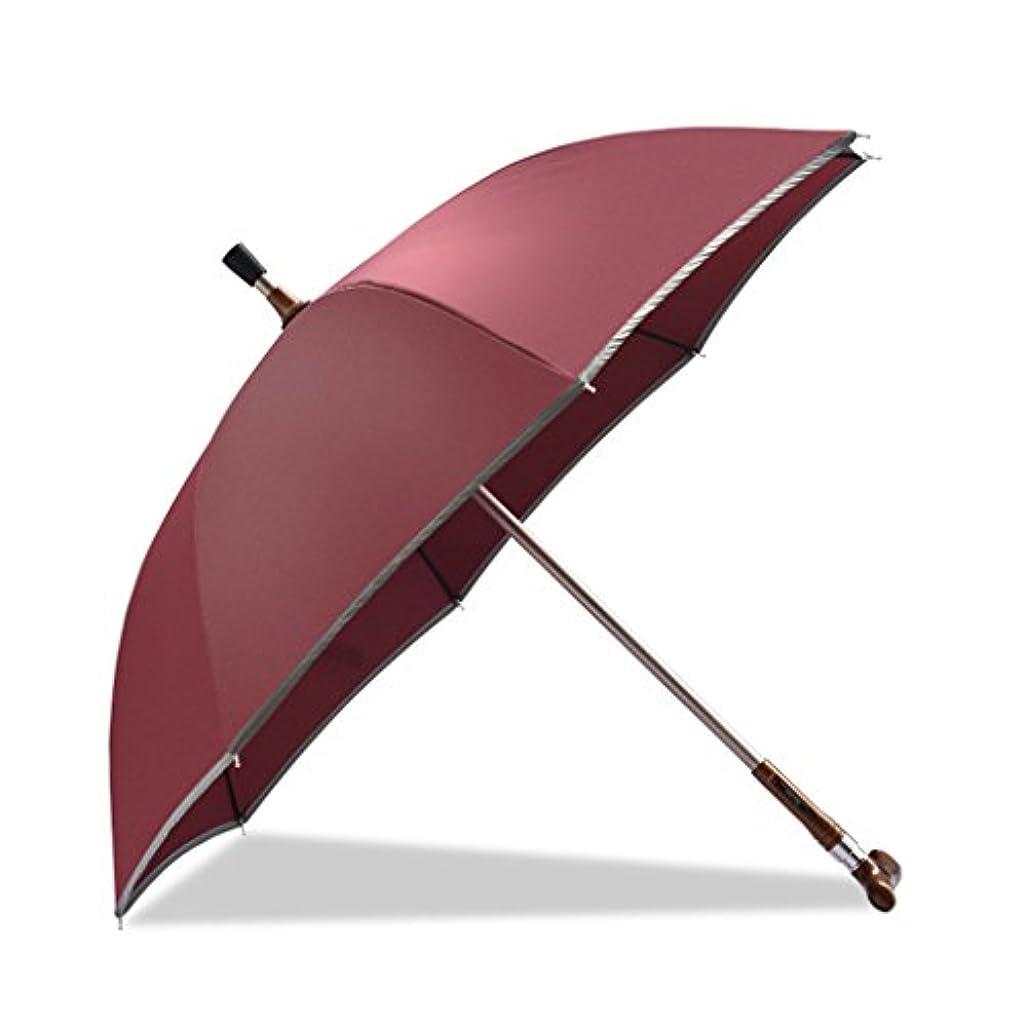 品種つかの間文房具ウォーキングスティック傘オールドマン専用傘ロングハンドルクリア雨デュアル使用ノンスリップクライミング多機能ケーンパラソル (色 : Red)