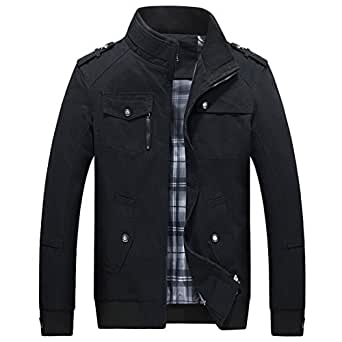 SUKUTU(スクツ) 秋 メンズミリタリージャケット長袖 バイクジャケット メンズ ライダースジャケット スタンドカラージャケット 防風 春 冬 (ブラック, 3XL(日本XL相当))