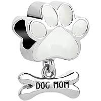 LuckyJewelry Dog Mom Pet Paw Print Charm Beads for Charm Bracelets