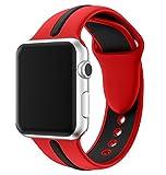 EloBeth for Apple Watch 2バンド シリカゲルバンド ラグ付きfor Apple Watch (42mm, 赤&黒1)