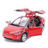 SXYT-モデルカー モデルカー合金モデルカー1:32テスラモデルXオフロードSUVモデル引き戻し車のおもちゃの子供のおもちゃの車 (色 : Red)