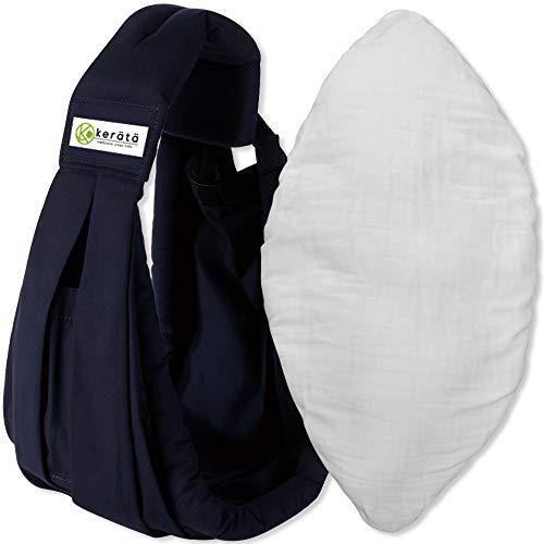 ker?t? ベビースリング 新生児クッション付き 抱っこ紐や授乳クッションや授乳ケープとしても使える3WAY(ネイビー)