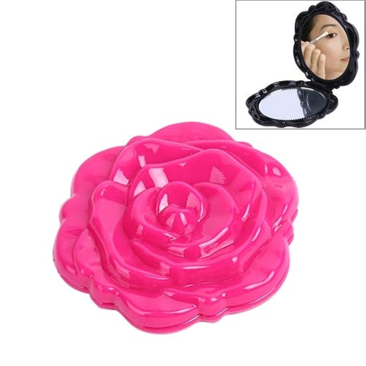やろう特別に窒息させるMEI1JIA 高品質ローズ折りたたみプラスチック円形化粧鏡両面ステレオステレオ化粧鏡(ブラック) (色 : Magenta)