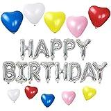 誕生日パーティー HAPPY BIRTHDAYバルーン (シルバー) ハート型風船10個 5色 飾り付け セット(AI-03)