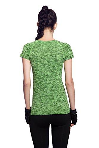(オナーファション) Honour Fashionレディース 吸汗速乾 トレーニング 半袖 シャツ グリーン M
