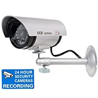 WALI Bullet Dummy Fake Surveillance Security CCTV Dome Camera Indoor Outdoor with Record LED Light + Warning Security Alert Sticker Decals WL-TC-S1 [並行輸入品]