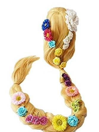Top of the Tower Rapunzel style wig set (long blonde + hair flower 24pcs + wig net) costume accessory