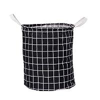 綿とリネンは折りたたみ収納バケツ生地防水汚れた服おもちゃ収納バスケット汚れた服フレーム,Black