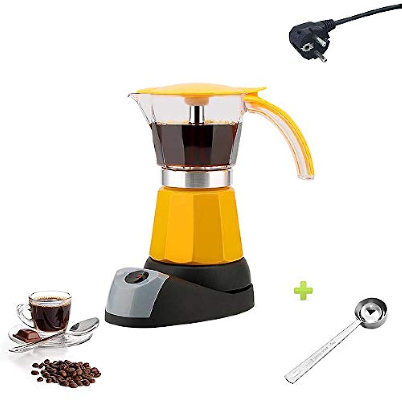 無関心タービン降ろす電気コンロエスプレッソメーカー、6カップ480W断熱乾燥防止お手入れ簡単、スプーン付きコーヒーメーカー,イエロー
