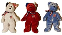Set of three Red Cross Ty Beanie Babies America bears 9/11 14 inches [並行輸入品]