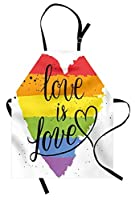 Pride Apron by Ambesonne, LGBT Gay Lesbian Parade Love Valentines Inspiring Hand Writing Paint Strokes Artistic, Unisex Kitchen Bib Apron with Adjustable Neck for Cooking Baking Gardening, Multicolor [並行輸入品]