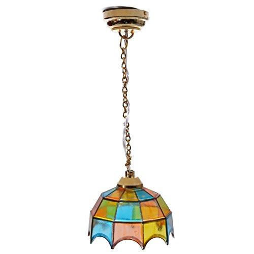SODIAL(R)メタル1:12ドールハウスミニチュア天井灯モデルと多色傘形状のランプシェード 家具...