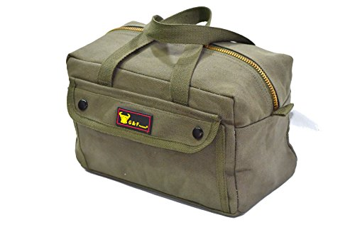 Government Issued Style Mechanics Heavy Duty Tool Bag with Brass Zipper and Side Pockets, Tool Bag for Cars, Drill, Garden, and Electrician. Olive Green