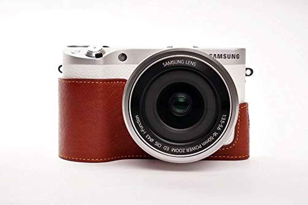 服を片付ける思想泣くサムスン NX500 用本革カメラケース ブラウン