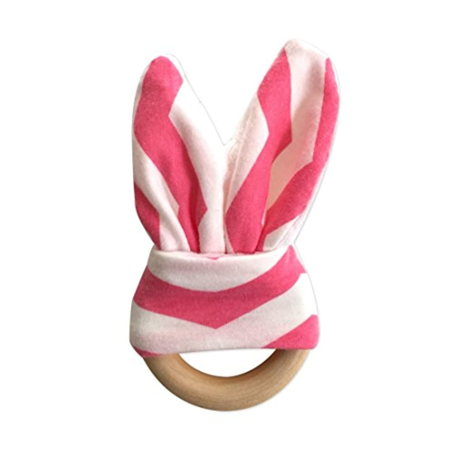 #1 Wooden Teether Ring With Minky Fabric Bunny Ears, Chevron Pink by Ayah Baby