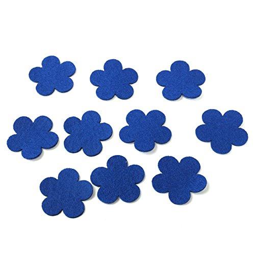 フェルト フラワ- モチーフ アップリケ アイロン接着可能 10枚セット ブルー