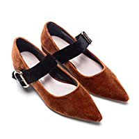 819a7f695625 ぺたんこ フラット パンプス ポインテッドトゥ ベロア ベルト付き カラーパンプス 靴 シューズ レディース ブラウン ローズ