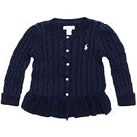 (ポロ ラルフローレン)POLO RALPH LAUREN ベビー Baby 女の子 セーター カーディガン Cable Cotton Peplum Cardigan ネイビー Hunter Navy (18M) [並行輸入品]