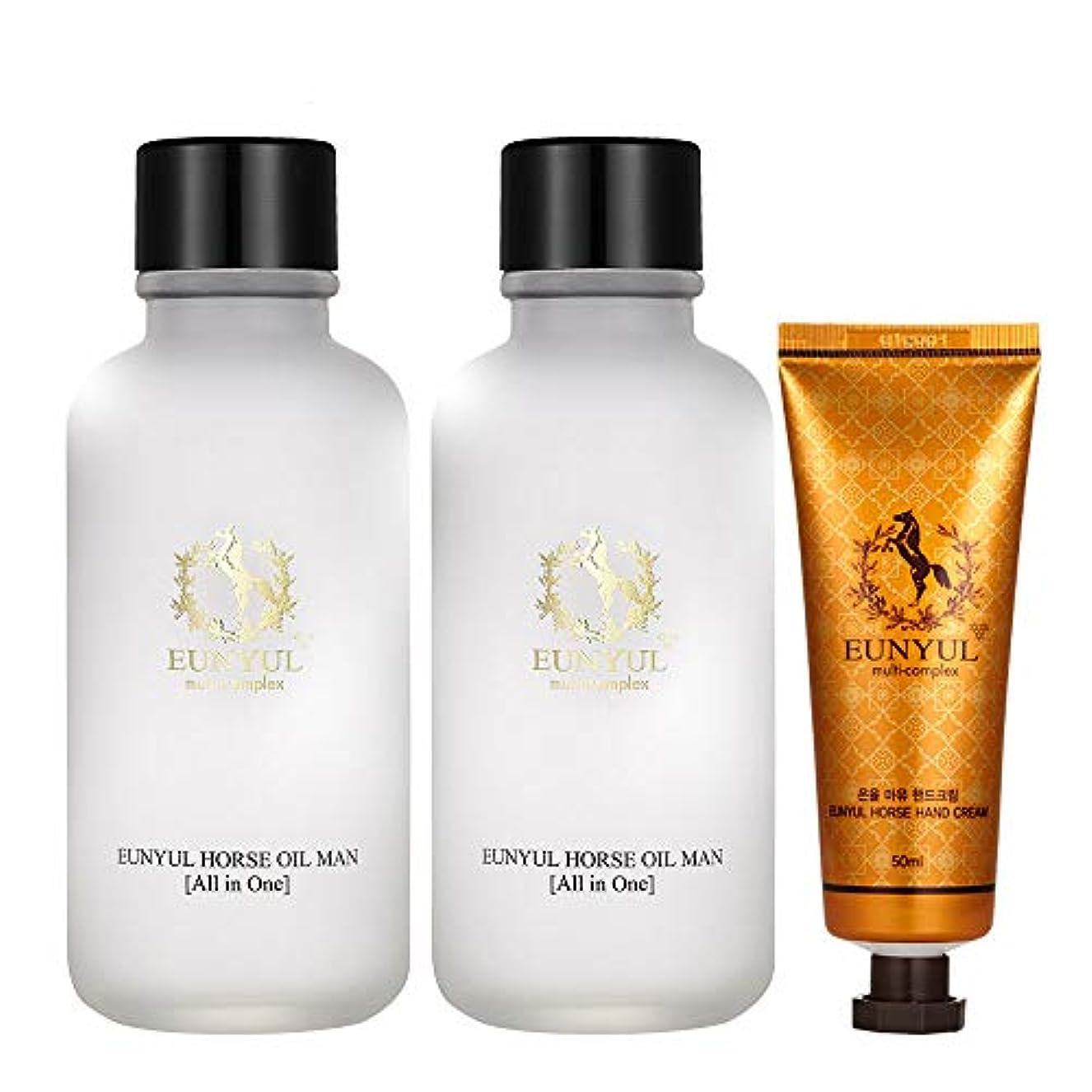 クリア調子岩Eunyul メンズ馬油オールインワン125ml 2個(スキン+ローション+エッセンス)+ハンドクリーム Horse Oil Man All In One 2pcs + hand cream [並行輸入品]