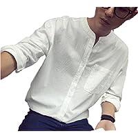 [モルクス] シャツ 長袖 襟なし 無地 ノーカラー ベーシック メンズ