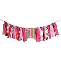 palasasaレッド花1つバナー – ハンドメイド最初誕生日装飾、pre-strung、組み立て不要、黄麻布Highchair 1st誕生日の赤ちゃんの女の子のバナー