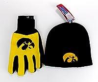 Iowa Hawkeyes NCAA公式ブラックニットビーニーとユーティリティグローブセット帽子ギフト