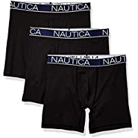 NAUTICA Men's 3-Pack Classic Underwear Cotton Stretch Boxer Brief, aero Blue/Sea Cobalt/Anchor Printpeacoat, Small