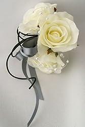 アイボリーローズ&グレイリボンデコ コサージュ 卒業式入園式結婚式