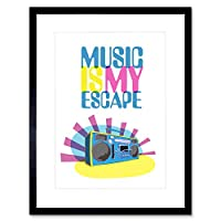 Music is My Escape Artwork Framed Wall Art Print 9X7 Inch 音楽壁