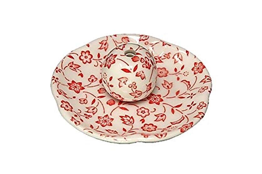 三番儀式引き出す赤小花 花形香皿 お香立て お香たて 日本製 ACSWEBSHOPオリジナル