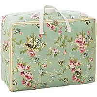 綿のリネンの収納袋緑の花のパターン高品質のポータブル防湿トラベルオーガナイザー羽毛布団の掛け布団仕上げ荷物の収納袋 (サイズ さいず : 55 * 45 * 29cm)
